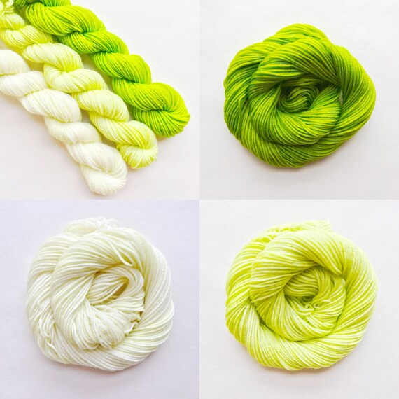 LIME fade set of hand dyed yarn. Gradient ombre SET of 3 skeins. choose sock dk bulky merino wool yarn. choose base. deep - light lime green