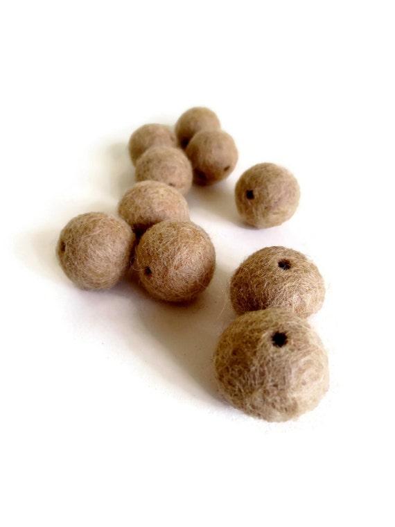 beige sand felt beads
