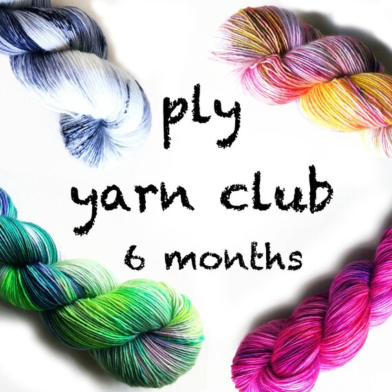 Hand Dyed Yarn Club 6 month membership. Customizable monthly yarn club subscription. Gift for Knitters, Gift for Crafters. PLY Yarn Club!
