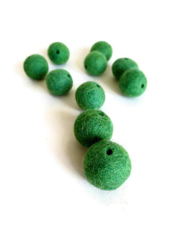 grass green felt beads