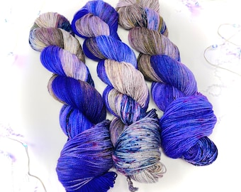 MIDNIGHT BIRTHDAY - a Special Summer Colorway - choose your favorite base. limited edition Indie Hand Dyed Speckle Yarn