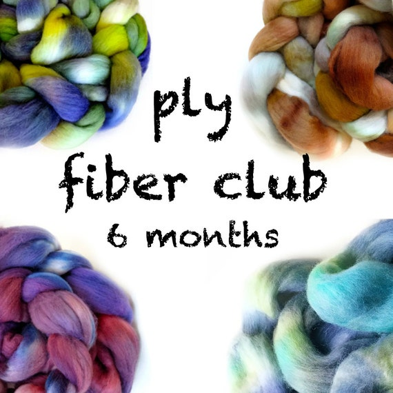 Hand Dyed Wool Roving Fiber Club 6 months. Customizable monthly subscription for Spinning or Felting. Gift for Spinners, Gift for Crafters.