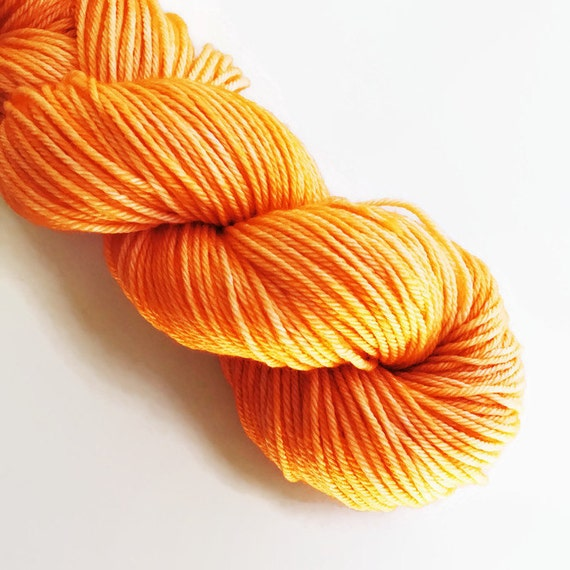 TANGERINE hand dyed yarn mini skein
