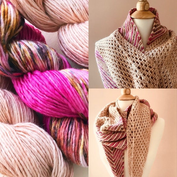 LOVELLA Shawl Wrap Yarn Kit - hand dyed yarn merino wool and silk alpaca wool. Pattern sold separately.