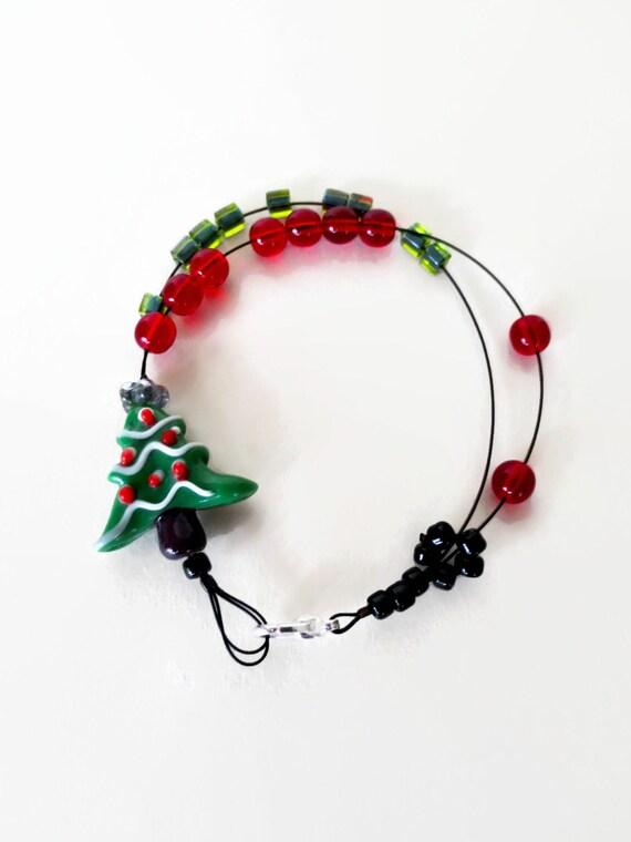 o tannenbaum - knitting row counter bracelet, abacus bracelet, knitters jewelry, knitting tool, knitting gift, christmas