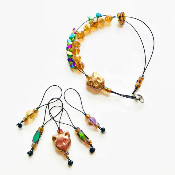 GOLDEN CAT knitting stitch markers and row counter bracelet