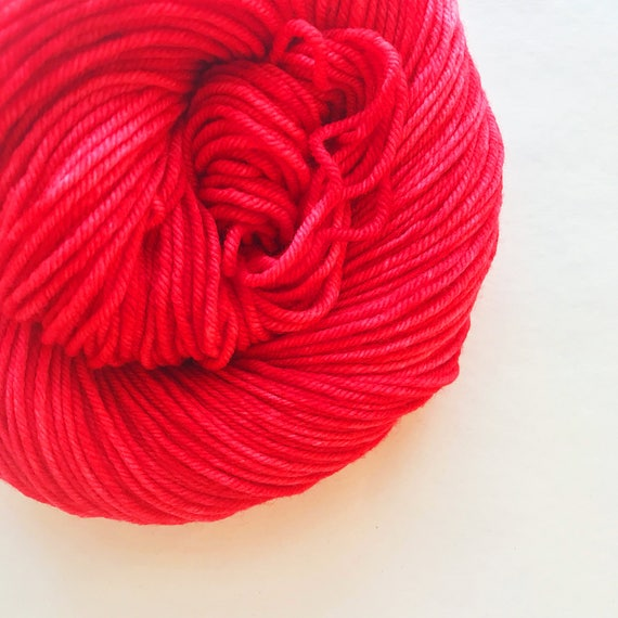 RED RED hand dyed yarn fingering sock dk bulky yarn super wash merino wool yarn - choose your favorite base. bright medium true red yarn