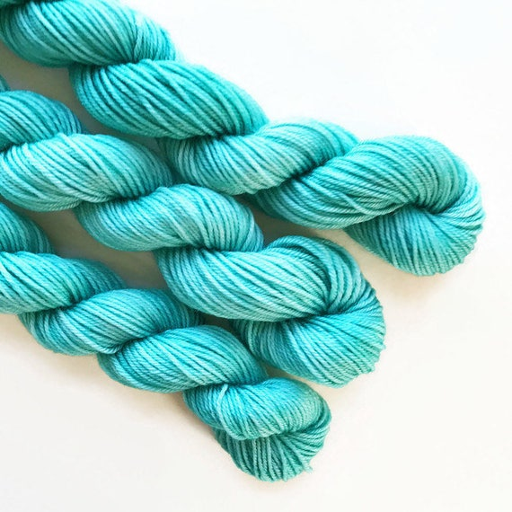 ATLANTIC hand dyed yarn mini skein. sock fingering yarn, merino wool superwash knitting embroidery. sock mini 4 ply. pale blue green yarn