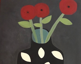 From the Poppy series #3 Three Poppies by Rose Walton contemporary folk still life