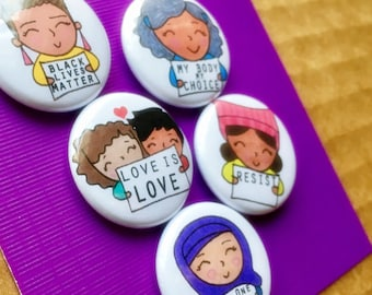 Protest Pins Women of Color small buttons pinbacks or magnets Resistance Pins