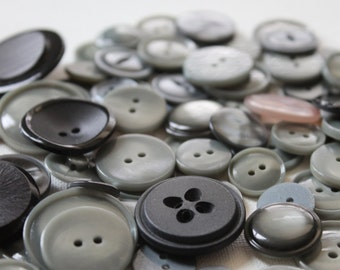 70 Gray and Black Buttons