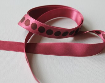 """Raspberry and Brown Dots Chiffon Ribbon 5/8"""", 1 yard (multiple yards available)"""
