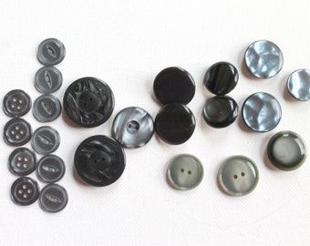 24 Gray Buttons, Variety of Sizes and Buttons -G122