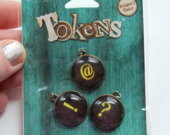 Blue Moon Tokens Keyboard Symbol Charms - set of 3 - exclamation point, at symbol and question mark