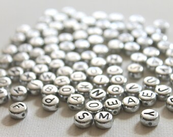 Alphabet Beads, Plastic, Silver tone, Item A125