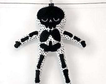 Stuffy Skeleton - black and white rag doll with fuzzy bones -