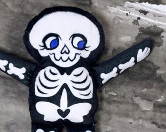 Soft Skeleton Doll - Cute doll printed on super soft minky fabric - Black with Purple Eyes - spooky cute plush toy BLPPLSH70101