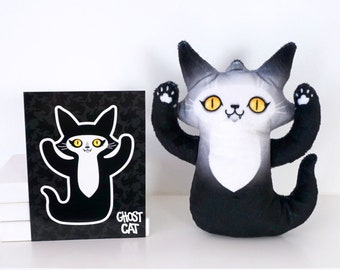 Ghost Cat Plush Toy - Spooky cute kitty doll with yellow eyes - Comes with free Ghost Cat postcard