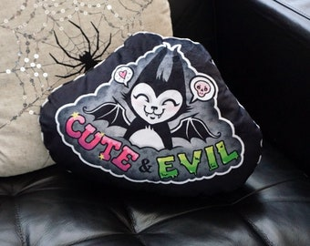 Cute and Evil Batcat - Super soft decorative throw pillow for your bed or sofa - Striped back fabric - Skulls heart stars gothic decor