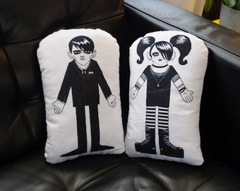 Goth Boy and Goth Girl Art Pillow Set - Gothic Couple made from super soft fabric - Goth GF and Goth BF - Gothic bedroom decor home decor
