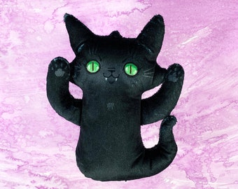 Ghost Cat Plush - Spooky black cat doll - Comes with a cute postcard about Ghost Cats