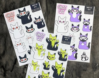 Ghost Cat Sticker Sheets - Paper stickers to decorate planners, mail or homework - Slime, Purple and red eyed ghost cats