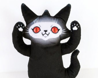 Ghost Cat Plush - Red Eyes Troublemaker - Free postcard included - Super soft printed fabric plush doll toy with evil red eyes - black cat