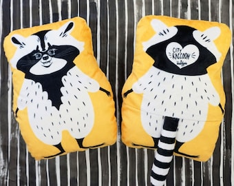 City Raccoon  - Two sided pillow plush with a striped tail on the back - Animal pillow for kids room Toronto Raccoon Fans