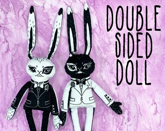 Two Sided Rabbit Doll - Black and White dual faced plush bunny wearing a tuxedo - LARGE SIZE