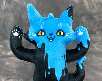 Ghost Cat Plush Toy - Spooky plush doll - blue raspberry slime - Comes with a cute postcard