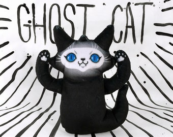 Ghost Cat Plush Toy - Spooky Cute Kitty Doll with blue eyes that comes with a cute postcard - BLPPLSH60192