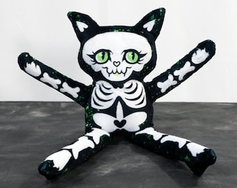 Cat Skeleton Doll - Black and Green - Spooky and Super Soft Fabric Spooky Toy - Green spatter dots on black - Green eyed cat- BLPPLSH60184