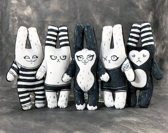 Bad Bunny Family Set #2 - Five Doll Collection - Weird Rabbit Doll Plush Figures made from super soft fabric - Handmade Art Dolls