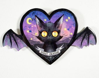 Night Creature - Original Painting on hand cut wood panel - Black Cat on a Heart shape with bat wings