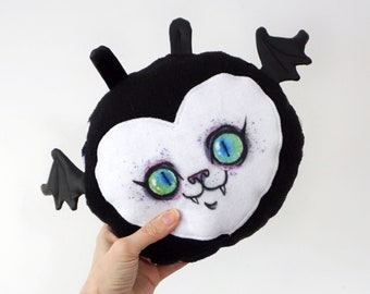 Fat Bat Plush Toy - Black and white striped doll with a cute face and little wings