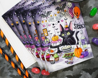 Set of 5 Halloween Party Cat Cards - Glossy blank greeting invitation cards with envelopes