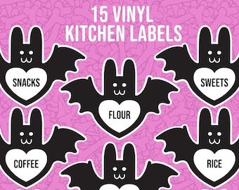 Pantry Kitchen Labels - 15 bat vinyl stickers to add to jars, bins, bottles, boxes - Food storage panty o rganization waterproof permanent