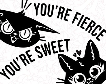 Decals - Cat Faces with You're Sweet You're Fierce - Matte Black REMOVABLE vinyl stickers for your mirror window or any glossy surface