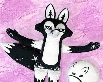 Night Fox Plush - Handmade original design soft doll - Comes with Moon Fox friend
