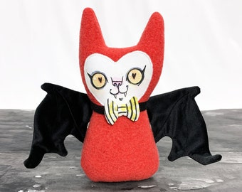 Stuffy Bat - wool doll with handpainted face - Made from felted wool, velvet and faux leather - sparkle bowtie - Ready for Halloween Party