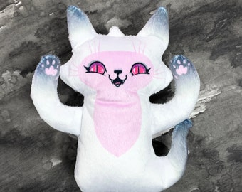 Ghost Cat Plush Toy - Pink Eyes and Belly - Comes with a cute postcard with ghost cat illustration - Handmade and soft #BLPPLSH60195