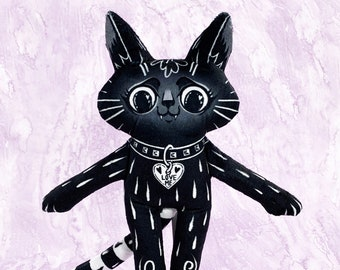Black Cat BFF - Best friend cat doll with long striped tail - Heart collar ID with Love Me - V2 Larger Version