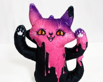 Ghost Cat Plush Toy - Spooky Ghost with pink slime illustration - Comes with a cute postcard - Super soft plush doll - BLPPLSH60206