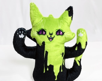Ghost Cat Plush Toy - Spooky Ghost with green slime illustration - Comes with a cute postcard - Super soft plush doll - BLPPLSH60204