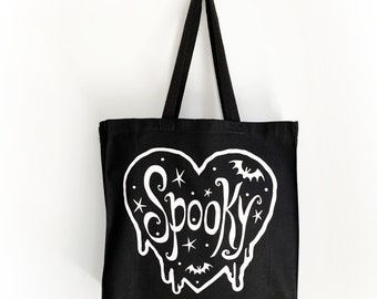 Tote - Spooky Shopping Bag - Bats Stars Heart- 14L Sturdy Cotton totebag 14 inches wide - bats on back side