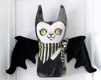 Stuffy Bat - Plush doll with handpainted face and velvet faux leather wings