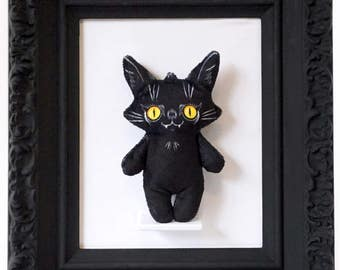 Illustrated black cat doll printed on soft minky fabric - Trouble Cat Darcy