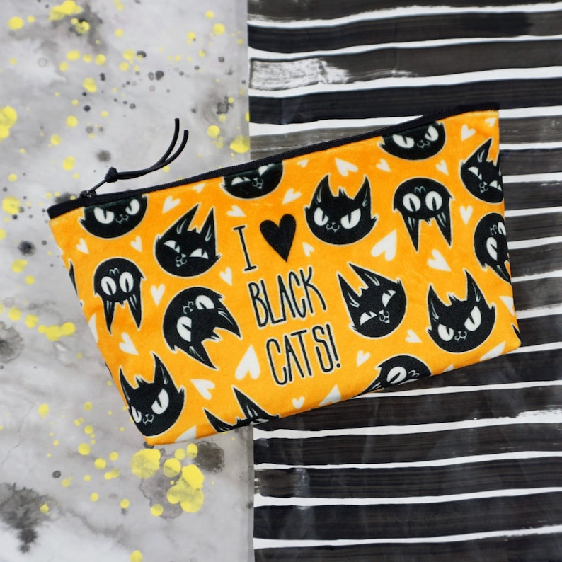 Velvet Pouch  I Heart Black Cats  Custom Printed heavyweight image 0