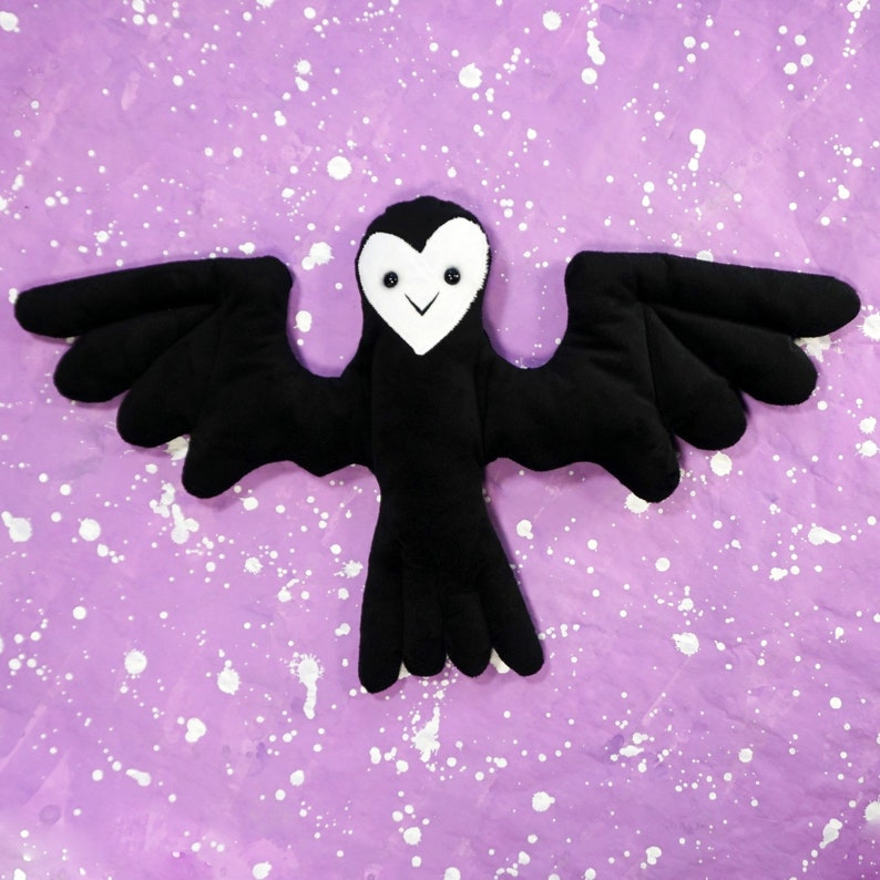 Night Bird  Super soft black and white doll image 0