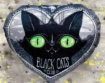 Black Cats Club Pillow - Soft minky custom printed fabric - bedroom decor - Green Cat Eyes Version
